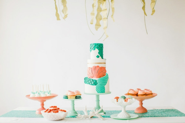 Ariel mermaid wedding decor merstöckig wedding cake