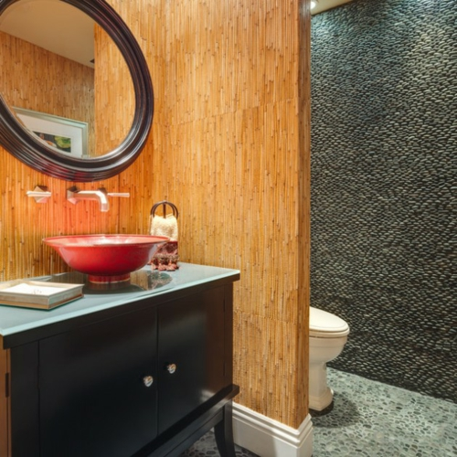Bathroom Designs asian style partition wall bamboo toilet black cabinet