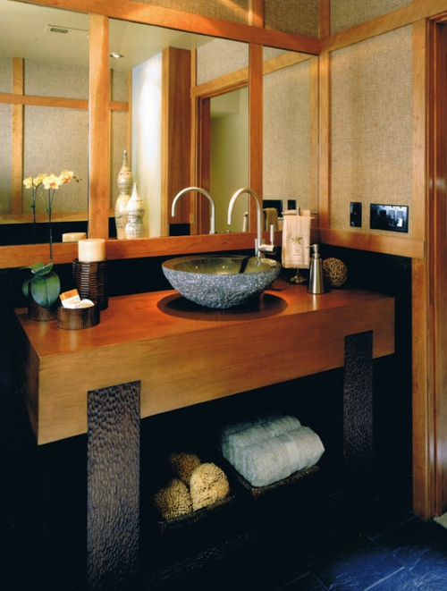 Bathroom Designs in Asian-style tile-towels-solid-wood