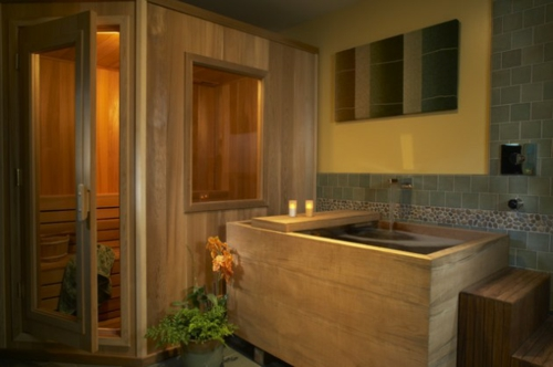 Bathroom Designs in Asian-style wood-mirror-window-partition
