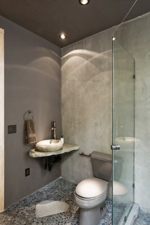 Bathroom Designs in Asian-style stone-concrete-gray-sink