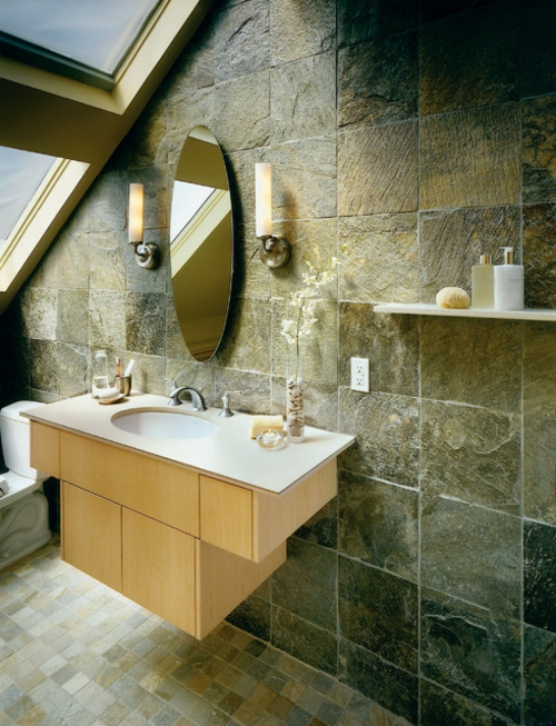 Bathroom Designs in Asian-style cabinet under-sink-oval mirror