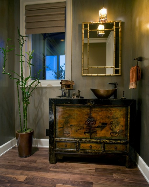 Bathroom designs in asian orient accent bamboo