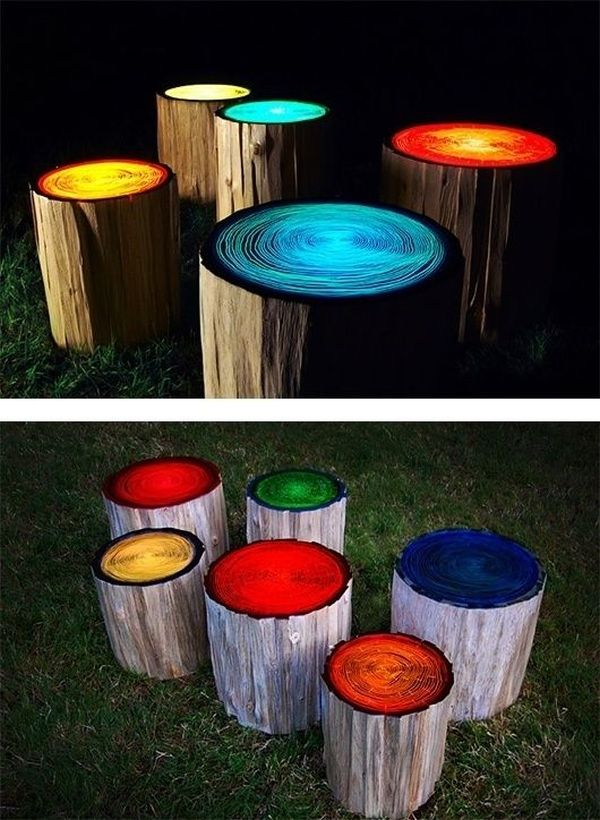 Craft ideas garden decoration diy colored tree stump seating