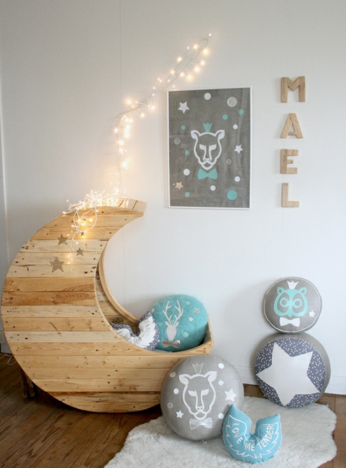 craft ideas baby bed moon Cool furniture Euro pallets DIY