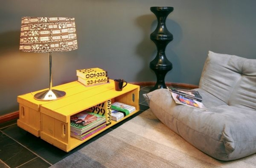 Cool furniture DIY craft ideas painted yellow europallets