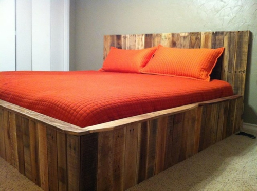 DIY craft ideas bedroom bed Cool furniture made of europallets