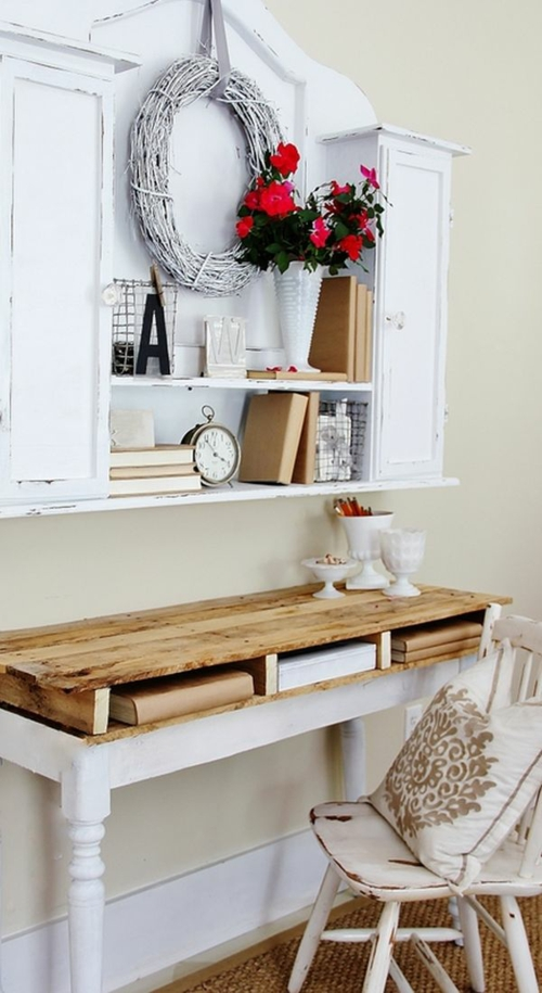 DIY craft ideas desk Cool furniture made of europallets