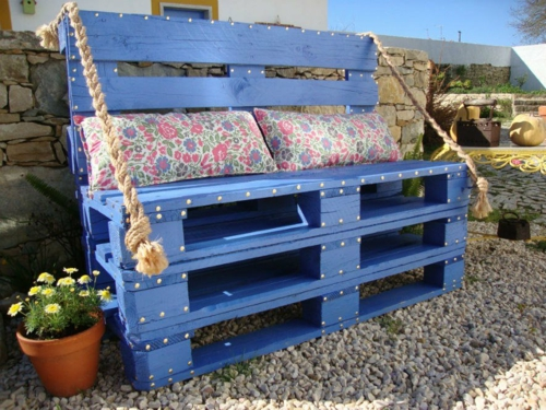craft ideas Bench Cool furniture made of Euro pallets DIY