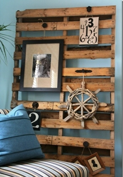 craft ideas wall headboard Cool furniture made of Euro pallets DIY