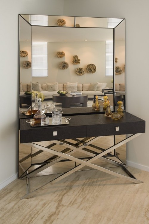Cool home bar design mirror living room interior