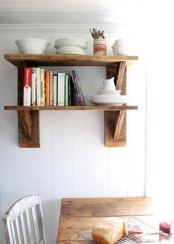 DIY decoration ideas from reclaimed wood furniture open shelves kitchen