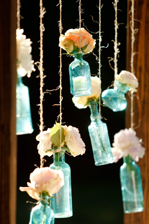 rope weddings deco bottles colorful glass