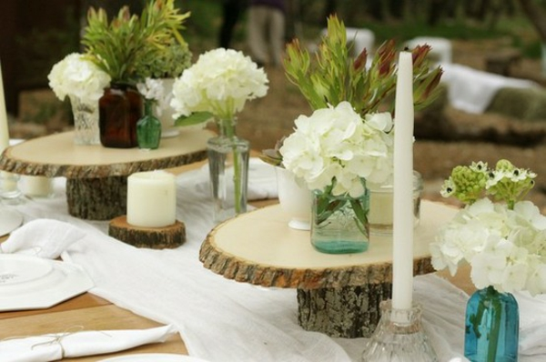 candles weddings deco wood slices