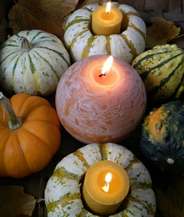 The perfect DIY wedding decorating gourds candles
