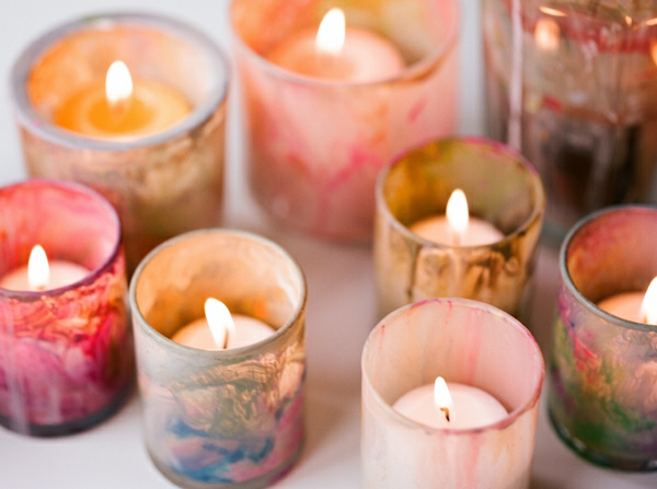 painted weddings deco candles colorful