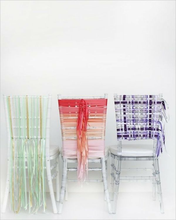 Stripes Wedding Decorations Decorative Ribbon Backrest Chairs