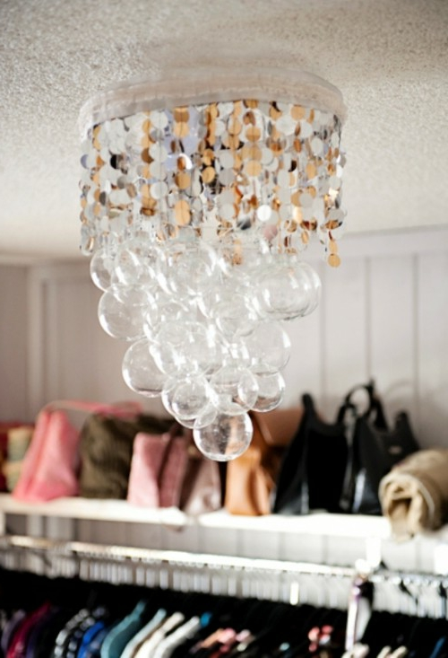 DIY chandelier made from vintage jewelry glass bubbles