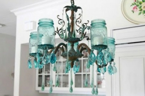 DIY chandelier from vintage jewelry glass