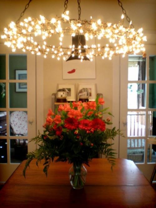 DIY chandelier from vintage jewelry chain light