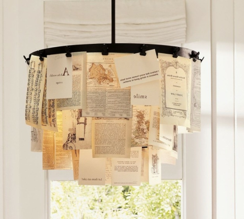 Chandelier from vintage jewelry paper newspaper