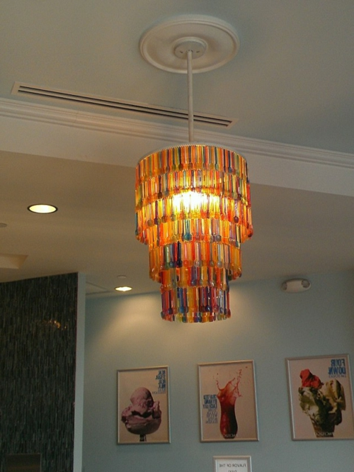 Chandelier from vintage jewelry plastic spoon
