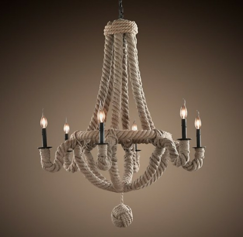 Chandelier from vintage jewelry rope candles