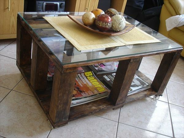 Tables made of europallets glass top shelves storage space