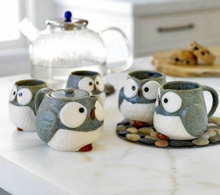Deco owls อุปกรณ์เสริม Deco items นกฮูก Teapot and cups