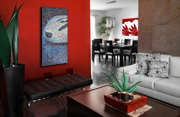 Color ideas dramatic details walls wall design living room red