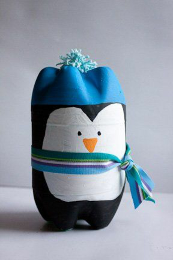 Garrafa deco blue Christmas spray pingüim
