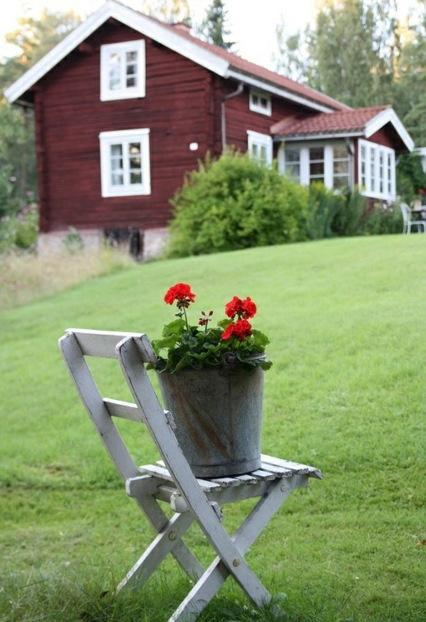 Garden house in sweden style chair flowers