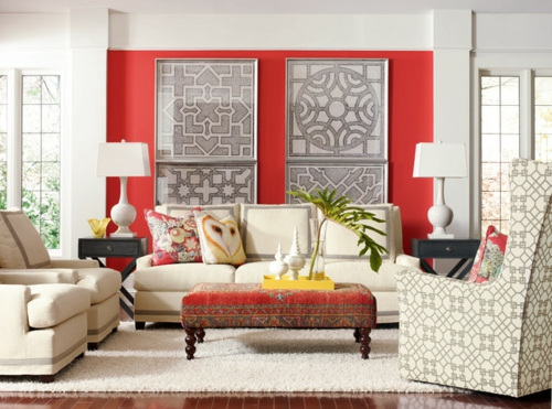 Cozy living room set up red wall decoration pillows