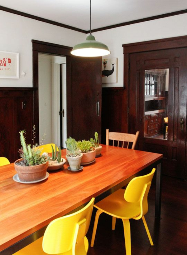 Green plants dining room pictures yellow chairs