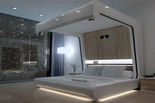Wooden four-poster beds in the bedroom built ultramodern