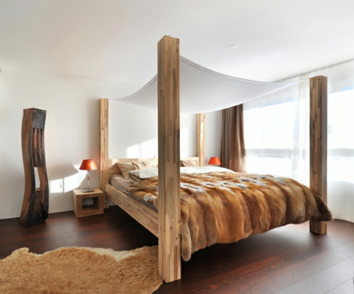 Wooden four-poster beds in the bedroom solid construction