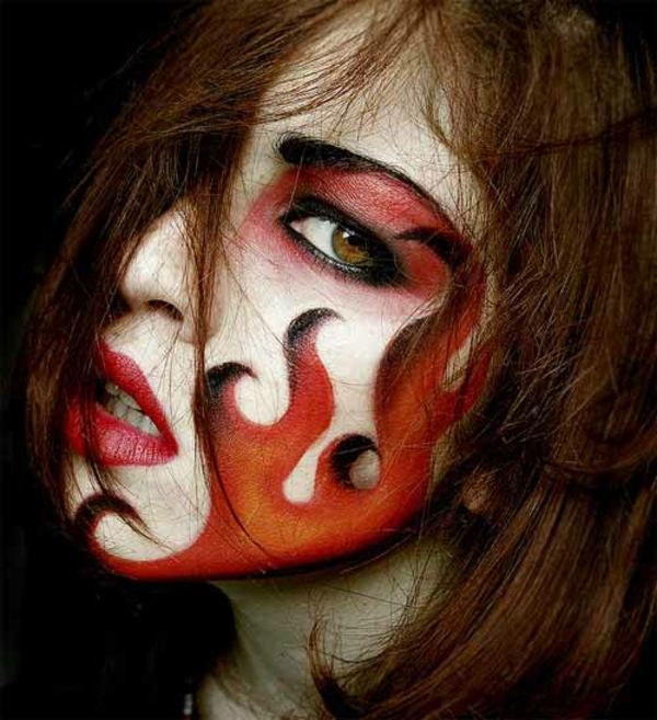 Horror halloween pictures fire face paint