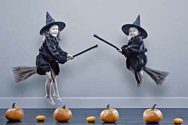 Horror halloween pictures kids witches