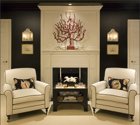 Interior decoration with branches fireplace armchair table wonderful