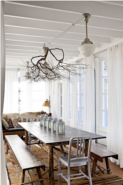 Interior decoration with branches - lamps ceiling dining table