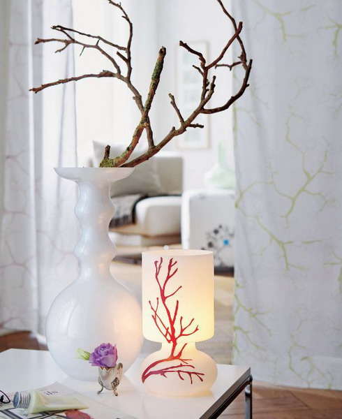 Interior decoration with branches vase candle table living room