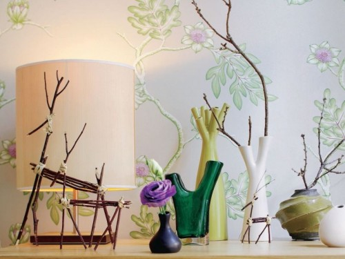 Interior decoration with branches colorful decoration lamp table