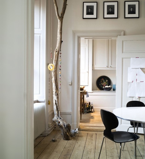 Interior decoration with branches Scandinavian design dining kitchen