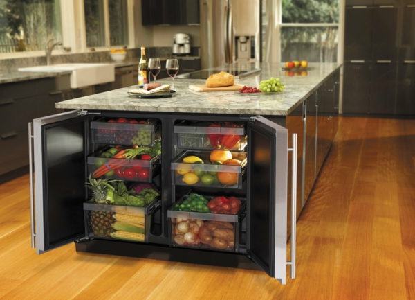 Kitchen island fashion wood refrigerator marble surfaces