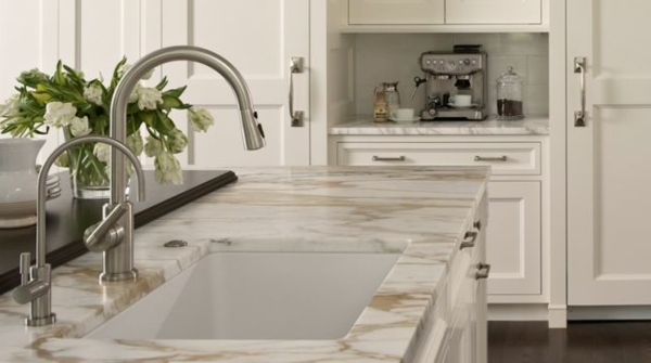 Coffee bar in your kitchen fashion marble plate sink
