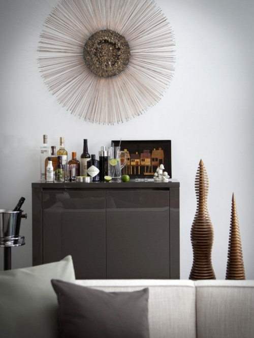 Small home bar cabinet gray decor glass