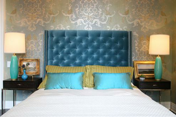 Headboards including beds including turquoise dark blue bedroom
