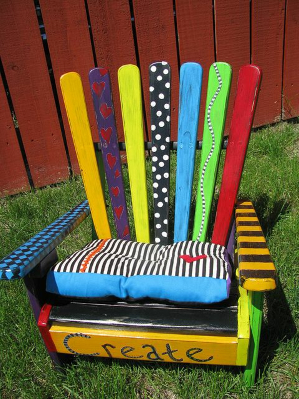 Furniture made of europallets colorfully painted chair
