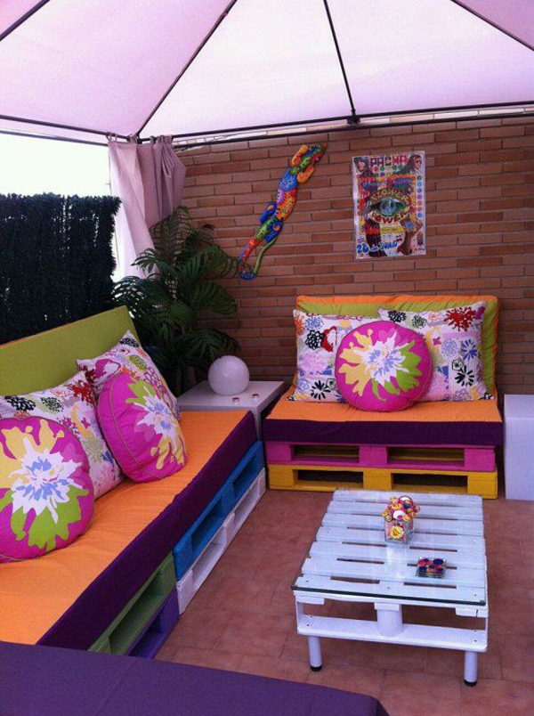 Furniture made of europallets garden corner recover colorful