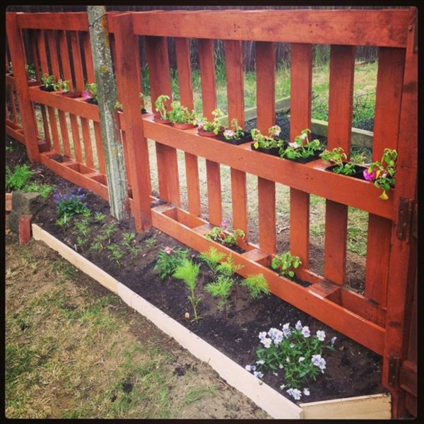 Furniture made of europallets garden fence red